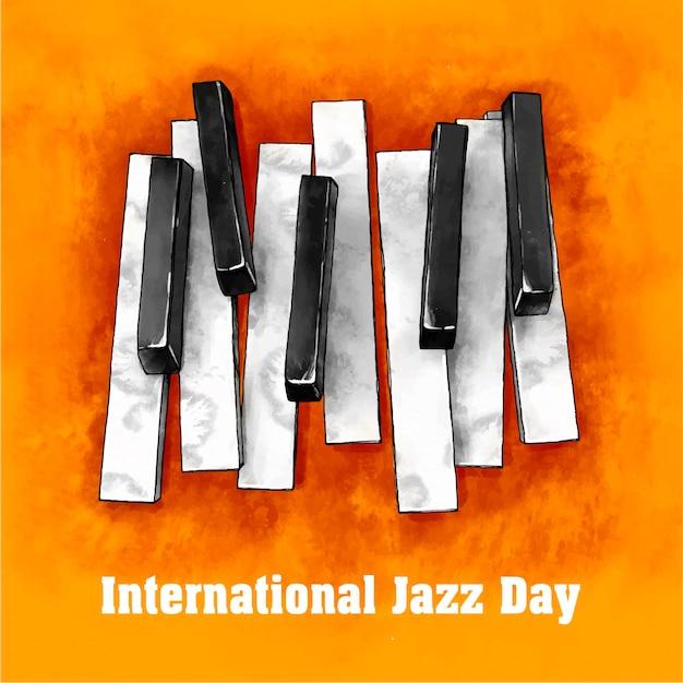 Watercolor international jazz day illustration