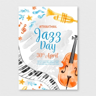Watercolor international jazz day poster template