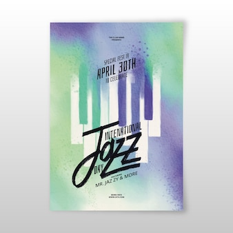 Watercolor international jazz day poster