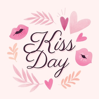 Watercolor international kissing day illustration