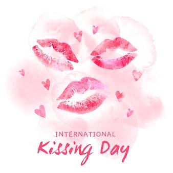 Illustrazione dell'acquerello international kissing day