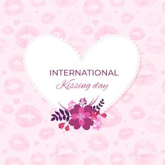 Watercolor international kissing day illustration