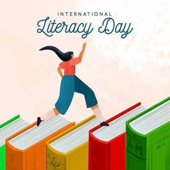 Watercolor international literacy day background