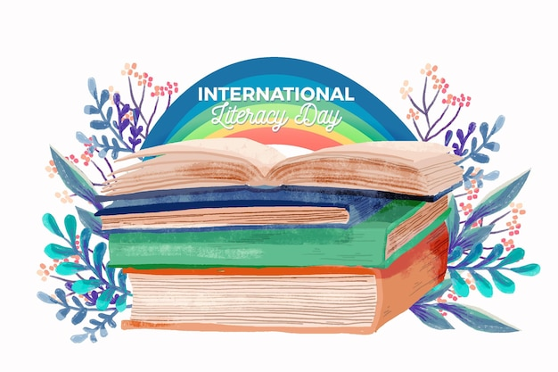 Международный день грамотности акварелью с книгами