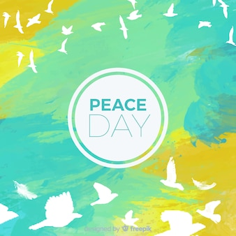 Watercolor international peace day concept with white dove