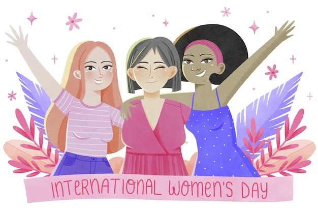 Международный женский день акварели
