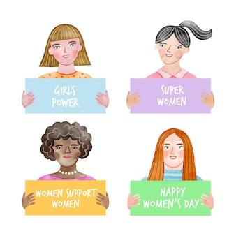 水彩の国際女性の日バッジコレクション