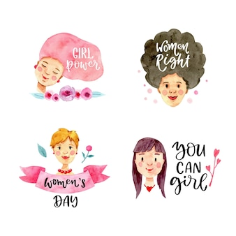 Watercolor international women's day badge collection