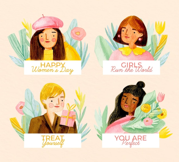 Watercolor international women's day badges