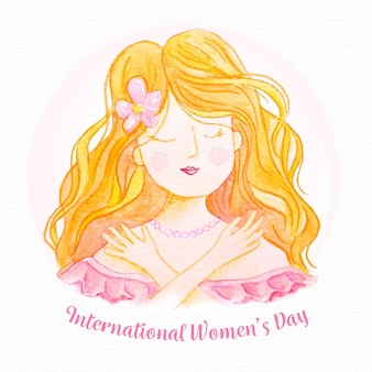 Международный женский день акварель