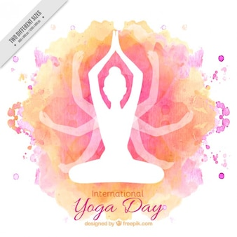 Watercolor international yoga day background