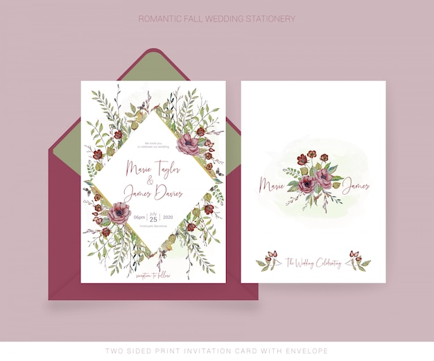 Watercolor invitation card and back with envelope