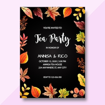 Watercolor invitation card, tea party invitation, modern wedding invitation