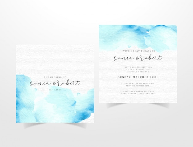 Watercolor invitation card template with blue brushstrokes