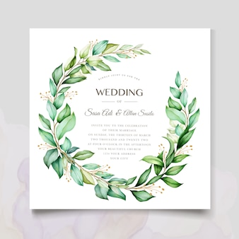 Watercolor invitation design with floral wreath