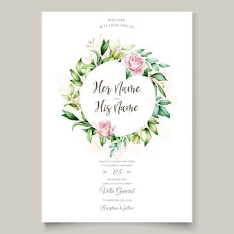 Watercolor invitation design with floral wreath