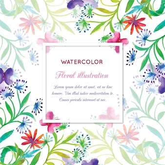 Watercolor invitation with floral frame