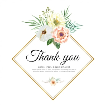 Watercolor invitation with flowers and branch. hang tag thank you for wedding.