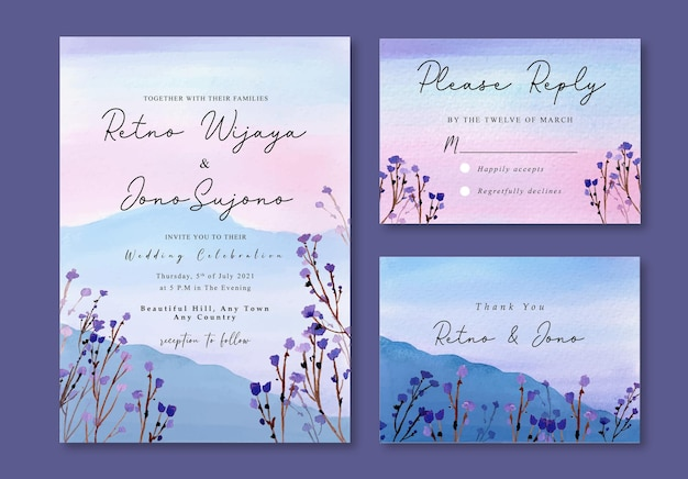 Watercolor invitation with misty purple florals and mountain landscape