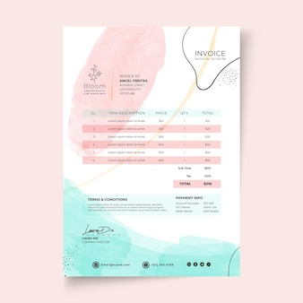 Watercolor invoice template