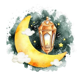 Акварель исламский фонарь рамадан и приветствие ид аль фитр