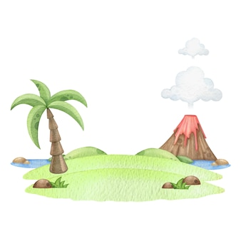 Watercolor island with palm and volcano