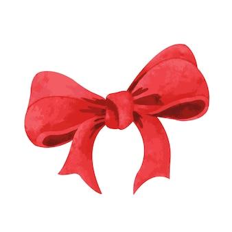休日のデザインの水彩分離された赤い弓要素