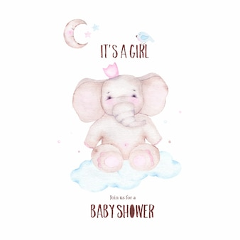 Watercolor it is girl baby shower with cute elephant