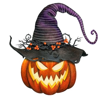 Watercolor jack o lantern pumpkin with striped witch hat