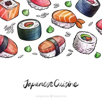 Watercolor japanese food background
