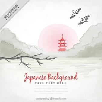 Sfondo japenese acquerello con il paesaggio e il tempio rosso
