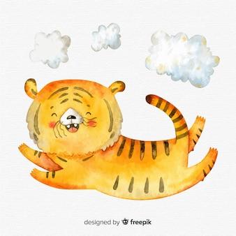 Watercolor jumping tiger