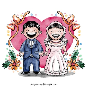 Watercolor just married illustration
