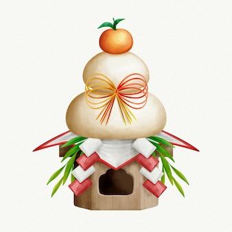 Illustrazione dell'acquerello kagamimochi