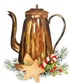 クリスマス要素と水彩ケトル