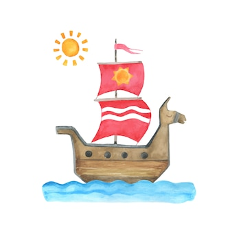 Watercolor kid's illustration with ship.