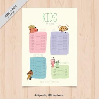Acquerello modello di menu per bambini