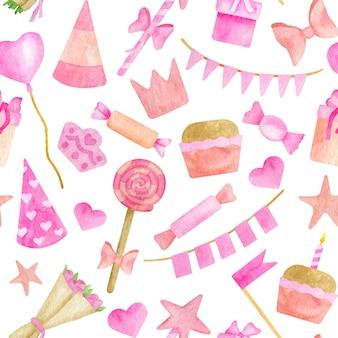 水彩の子供の誕生日パーティーのシームレスなパターン