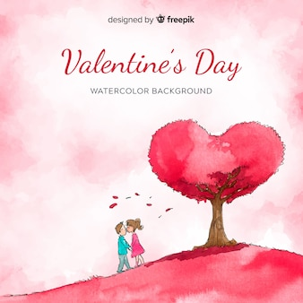 Watercolor kissing couple valentine background
