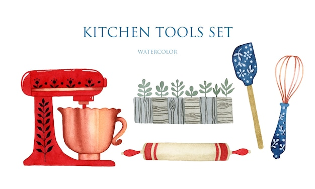 Watercolor kitchen tools set isolated elements