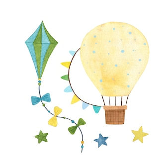 Watercolor kite and yellow hot air balloon