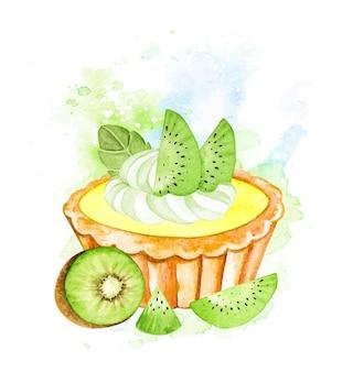 Акварельный пирог с киви