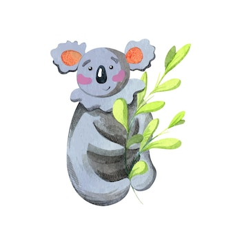 Watercolor koala with eucalyptus