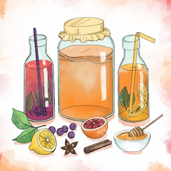 Watercolor kombucha tea illustration with fruits