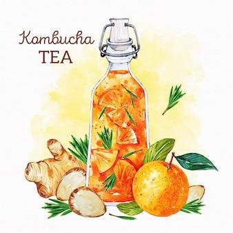 Watercolor kombucha tea illustration with ginger