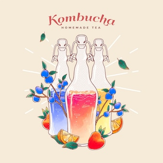 Illustrazione dell'acquerello del tè kombucha