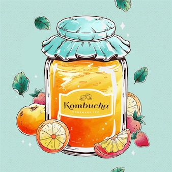 Watercolor kombucha tea illustration