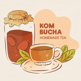 Tè kombucha dell'acquerello