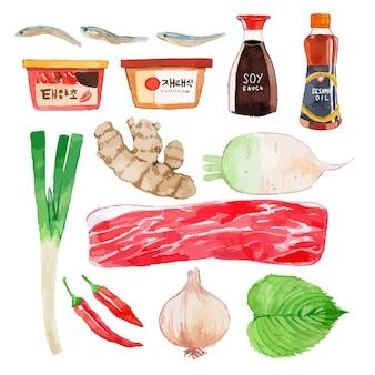 수채화 한국 음식 재료 세트