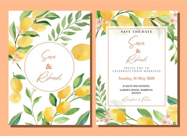 Watercolor kumquats citrus lemon invitation card template set